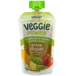 Sprout Organic, Veggie Power, Green Veggies with Pineapple & Apple, 4 oz (113 g)