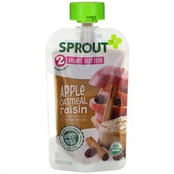 Sprout Organic, Baby Food, 6 Months & Up,  Apple Oatmeal Raisin with Cinnamon, 3.5 oz (99 g)